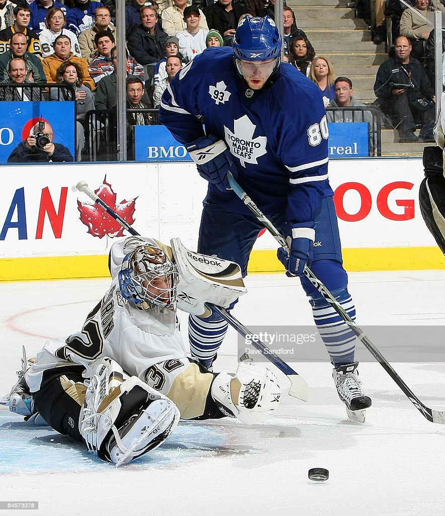 Nik Antropov #80 of the Toronto Maple Leafs looks for the rebound after a save by Mathieu Garon #32 of the Pittsburgh Penguins during their NHL game at the Air Canada Centre January 31, 2009 in Toronto, Canada.