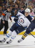 Nik Antropov of the Winnipeg Jets skates against the Buffalo Sabres during their NHL game at First Niagara Center November 8 2011 in Buffalo New York