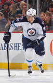 Nik Antropov of the Winnipeg Jets skates against the New Jersey Devils during the game at the Prudential Center on February 24 2013 in Newark New...
