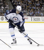 Nik Antropov of the Winnipeg Jets skates against the Pittsburgh Penguins during the game at Consol Energy Center on February 11 2012 in Pittsburgh...