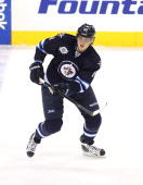 Nik Antropov of the Winnipeg Jets skates on the ice during a game against the Toronto Maple Leafs in NHL action at the MTS Centre on February 7 2012...