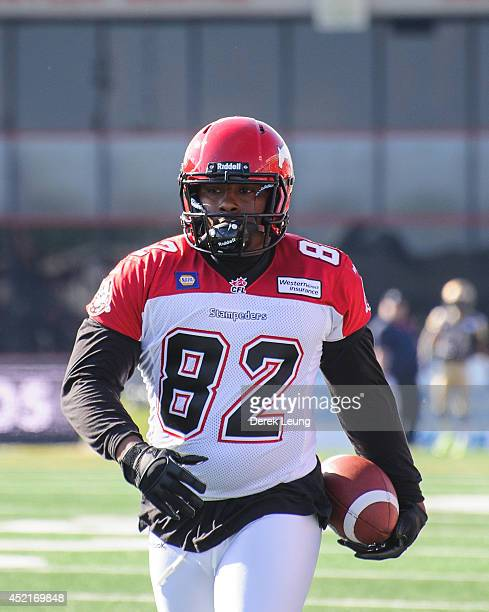 Nik Lewis of the Calgary Stampeders in action against the Winnipeg Blue Bombers during a CFL game at McMahon Stadium on June 14 2014 in Calgary...