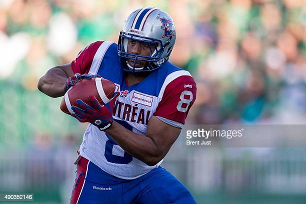 Nik Lewis of the Montreal Alouettes makes a catch in the game between the Montreal Alouettes and Saskatchewan Roughriders in week 14 of the 2015 CFL...