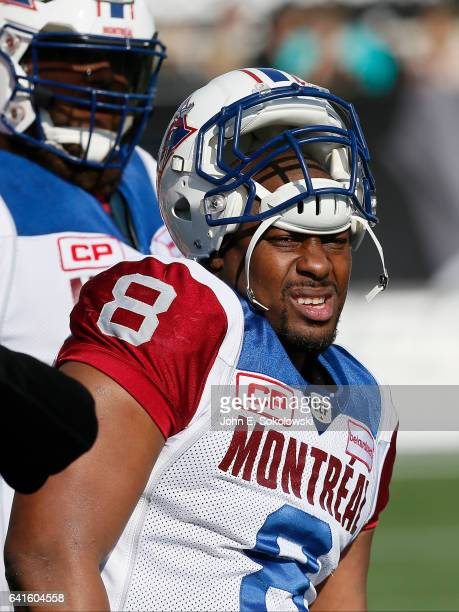 Nik Lewis of the Montreal Alouettes on the sidelines during a CFL game against the Hamilton TigerCats at Tim Hortons Field on November 5 2016 in...