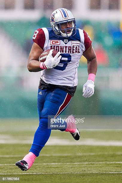 Nik Lewis of the Montreal Alouettes runs after a catch in the game between the Montreal Alouettes and Saskatchewan Roughriders at Mosaic Stadium on...