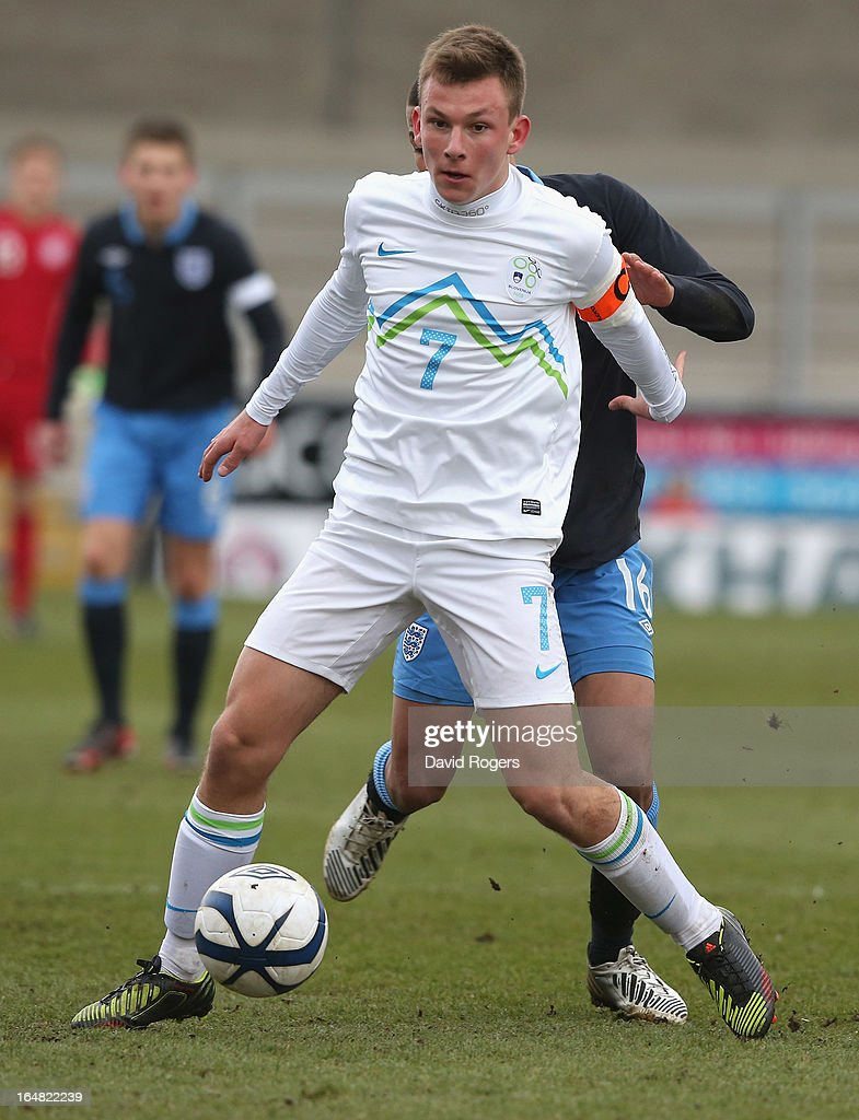 Nik Mrsic of Slovenia controls the ball during the UEFA European Under 17 Championship match between England and Slovenia at Pirelli Stadium on March 28, 2013 in Burton-upon-Trent, England.