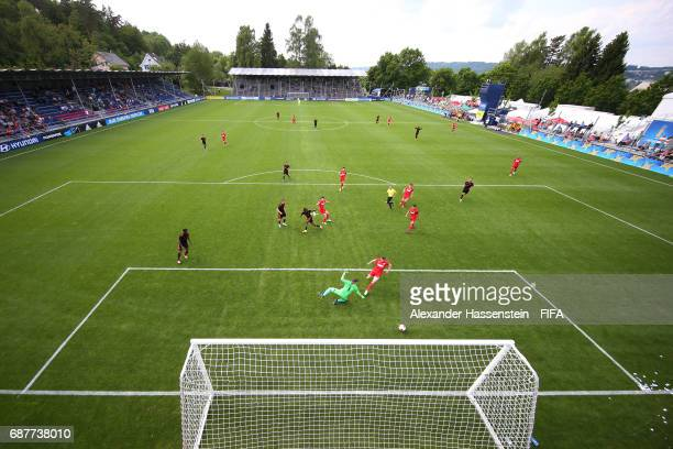 Nik Rosenbaum of FSZ Mainz 05 scores a goal during the match between FSV Mainz 05 and Sport Lisboa e Benfica on day one of the Blue Stars/FIFA Youth...