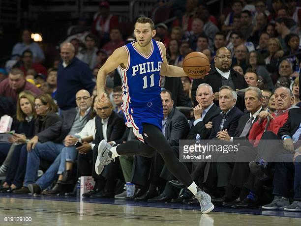 Nik Stauskas of the Philadelphia 76ers controls the ball against the Oklahoma City Thunder at Wells Fargo Center on October 26 2016 in Philadelphia...