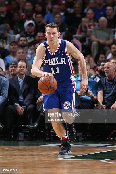 Nik Stauskas of the Philadelphia 76ers dribbles the ball against the Milwaukee Bucks on November 4 2015 at the BMO Harris Bradley Center in Milwaukee...