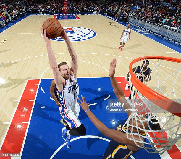 Nik Stauskas of the Philadelphia 76ers dunks the ball against the Indiana Pacers at the Wells Fargo Center on April 2 2016 in Philadelphia...