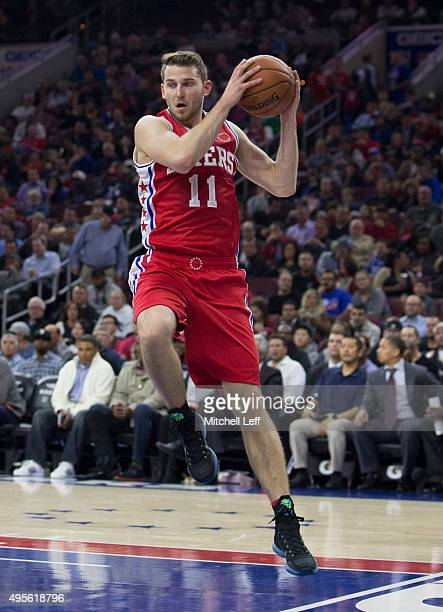 Nik Stauskas of the Philadelphia 76ers grabs a rebound in the game against the Cleveland Cavaliers on November 2 2015 at the Wells Fargo Center in...