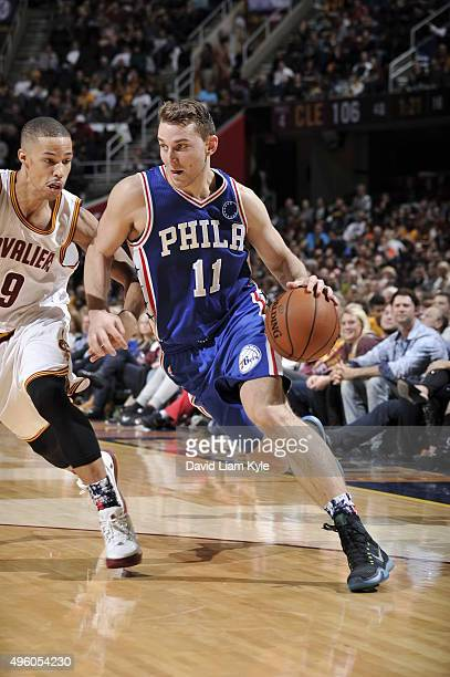 Nik Stauskas of the Philadelphia 76ers handles the ball against the Cleveland Cavaliers on November 6 2015 at Quicken Loans Arena in Cleveland Ohio...