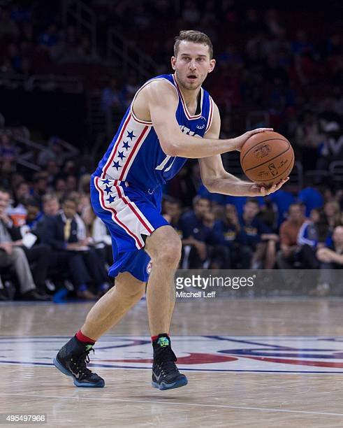 Nik Stauskas of the Philadelphia 76ers plays in the game against the Utah Jazz on October 30 2015 at the Wells Fargo Center in Philadelphia...