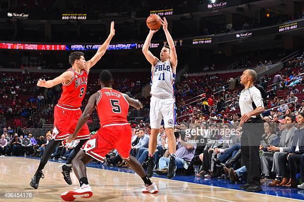 Nik Stauskas of the Philadelphia 76ers shoots the ball against the Chicago Bulls at Wells Fargo Center on November 9 2015 in Philadelphia...