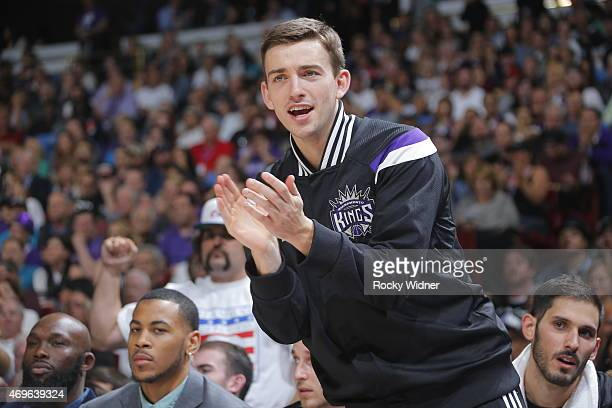 Nik Stauskas of the Sacramento Kings celebrates during a game against the Los Angeles Lakers on April 13 2015 at Sleep Train Arena in Sacramento...