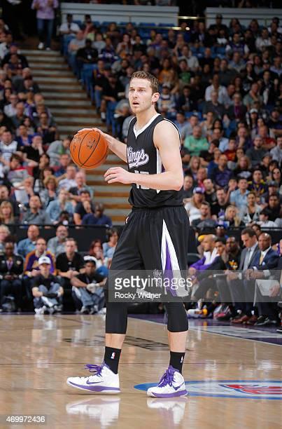 Nik Stauskas of the Sacramento Kings handles the ball against the Los Angeles Lakers on April 13 2015 at Sleep Train Arena in Sacramento California...