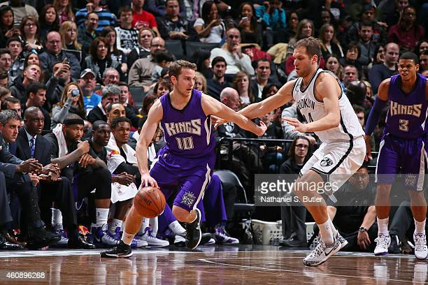 Nik Stauskas of the Sacramento Kings handles the ball against the Brooklyn Nets during the game on December 29 2014 at Barclays Center in Brooklyn...
