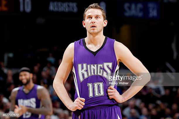 Nik Stauskas of the Sacramento Kings looks on during the game against the Cleveland Cavaliers on January 30 2015 at Quicken Loans Arena in Cleveland...