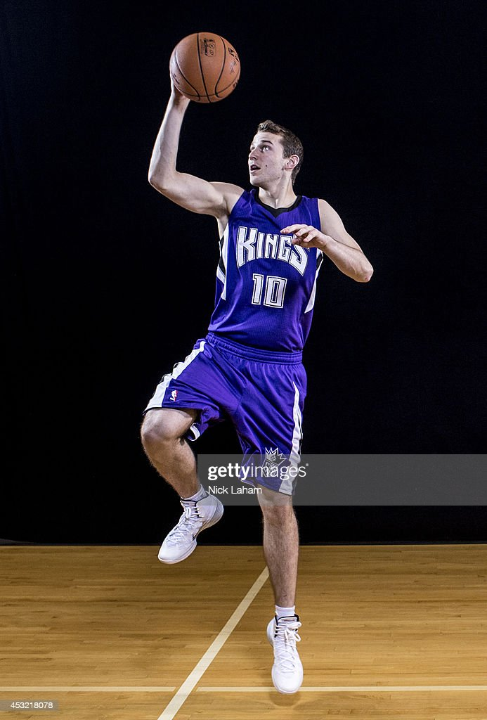 Nik Stauskas #10 of the Sacramento Kings poses for a portrait during the 2014 NBA rookie photo shoot at MSG Training Center on August 3, 2014 in Tarrytown, New York.