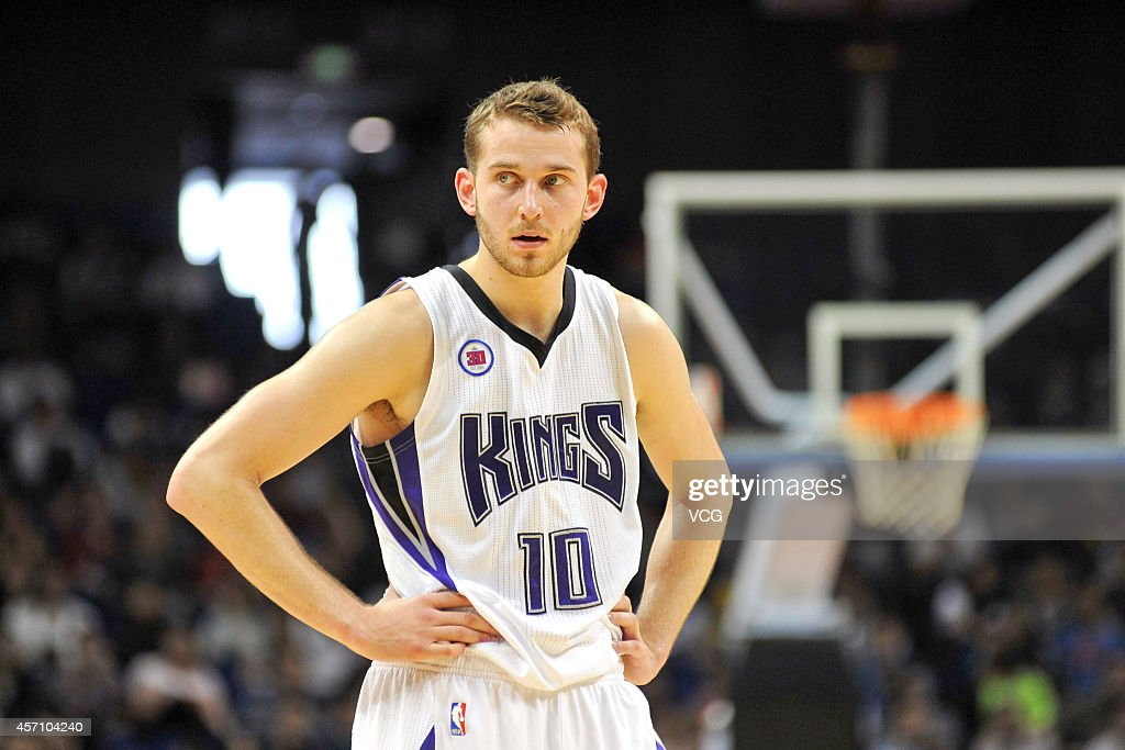 <a gi-track='captionPersonalityLinkClicked' href=/galleries/search?phrase=Nik+Stauskas&family=editorial&specificpeople=9920522 ng-click='$event.stopPropagation()'>Nik Stauskas</a> #10 of the Sacramento Kings reacts during the 2014 NBA Global Games match between at the Sacramento Kings and the Brooklyn Nets at Mercedes-Benz Arena on October 12, 2014 in Shanghai, China.