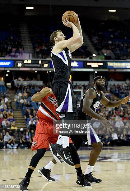 Nik Stauskas of the Sacramento Kings shoots against the Portland Trail Blazers during the first half of their game at Sleep Train Arena on October 31...