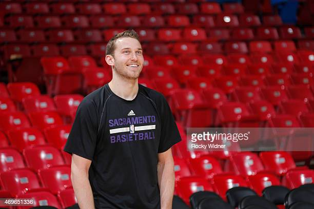 Nik Stauskas of the Sacramento Kings warms up against the Utah Jazz on April 5 2015 at Sleep Train Arena in Sacramento California NOTE TO USER User...