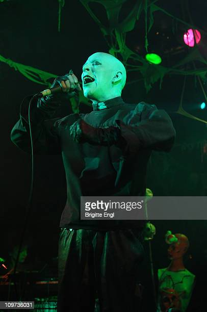 Nik Wade of deathrock band Alien Sex Fiend performs on stage at the Electric Ballroom London 31st October 2010