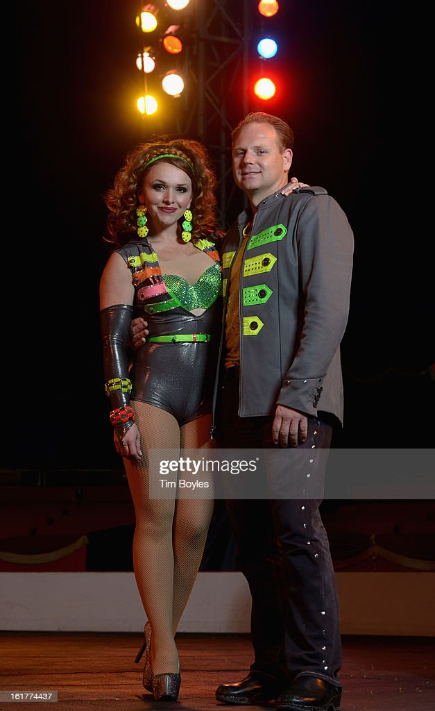 Nik Wallenda (R) and his wife Erendira Wallenda (L) pose for a photograph at Circus Sarasota on February 15, 2013 in Sarasota, Florida. Nik Wallenda is planning to walk on a high wire over the Grand Canyon this summer.