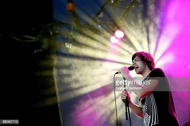 Nik Yiannikas of the group Lost Valentinos performs on stage during the Splendour in the Grass festival at Belongil Fields on July 26 2009 in Byron...