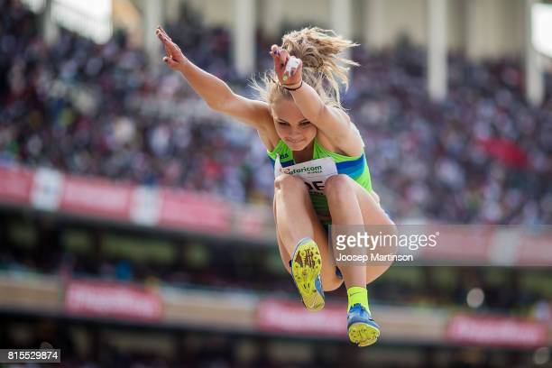 Nika Ude of Slovenia competes in the girls long jump during day 5 of the IAAF U18 World Championships at Moi International Sports Centre Kasarani...