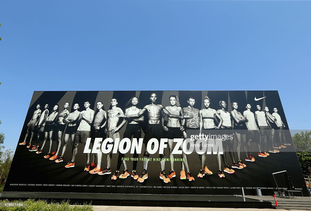 Nike ad hangs on the side of a building on the campus of the University of Oregon the site of the 2015 USA Outdoor Track Field Championships on June...