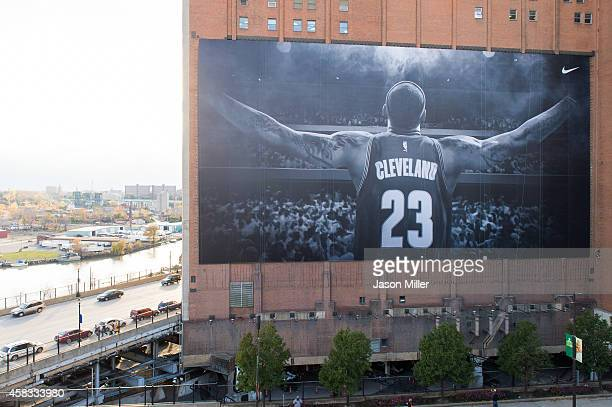 Nike advertisement of Lebron James of the Cleveland Cavaliers is seen on the Landmark Office Towers building on October 30 2014 in Cleveland Ohio...