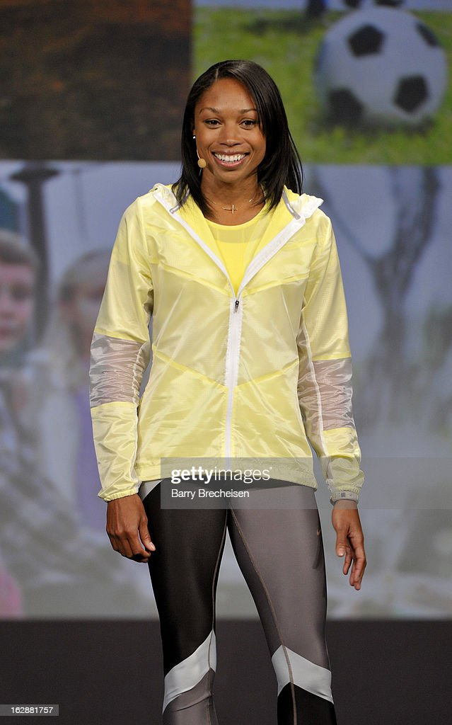 Nike athlete <a gi-track='captionPersonalityLinkClicked' href=/galleries/search?phrase=Allyson+Felix&family=editorial&specificpeople=213459 ng-click='$event.stopPropagation()'>Allyson Felix</a> during the unveiling of a new initiative called 'Let's Move Active Schools' to help schools create a physical activity programs for students at McCormick Place on February 28, 2013 in Chicago, Illinois.