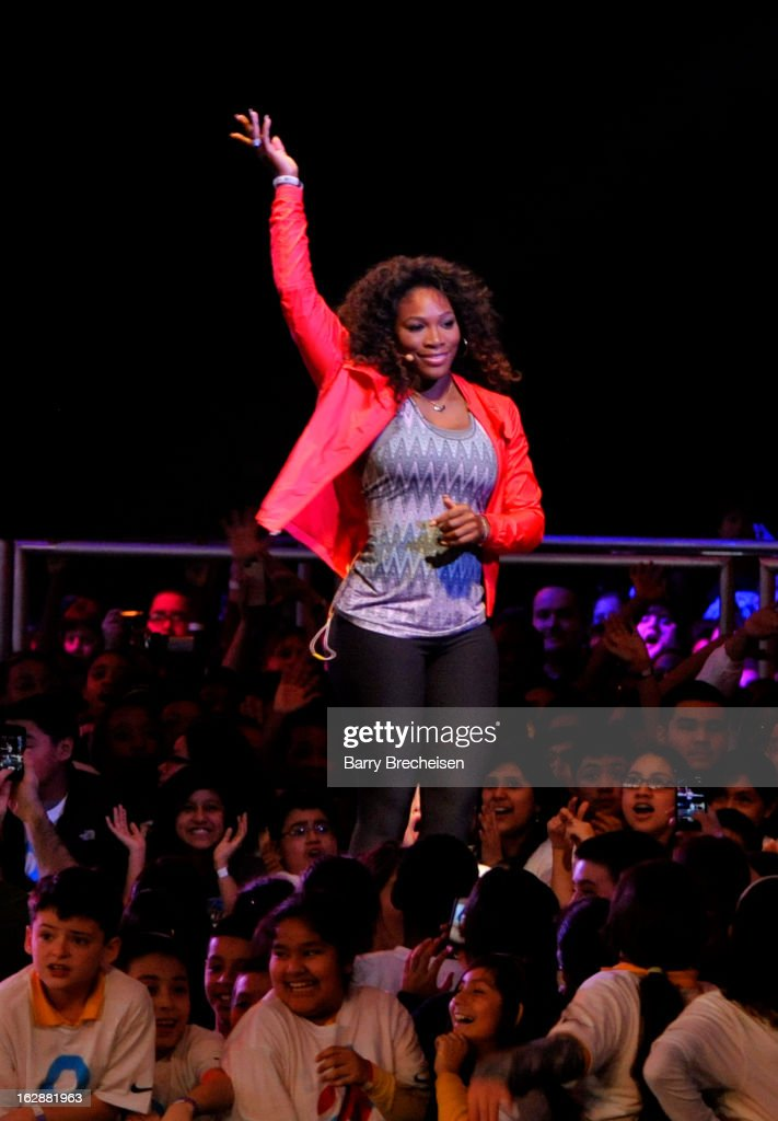 Nike athlete <a gi-track='captionPersonalityLinkClicked' href=/galleries/search?phrase=Serena+Williams&family=editorial&specificpeople=171101 ng-click='$event.stopPropagation()'>Serena Williams</a> during the unveiling of a new initiative called 'Let's Move Active Schools' to help schools create a physical activity programs for students at McCormick Place on February 28, 2013 in Chicago, Illinois.