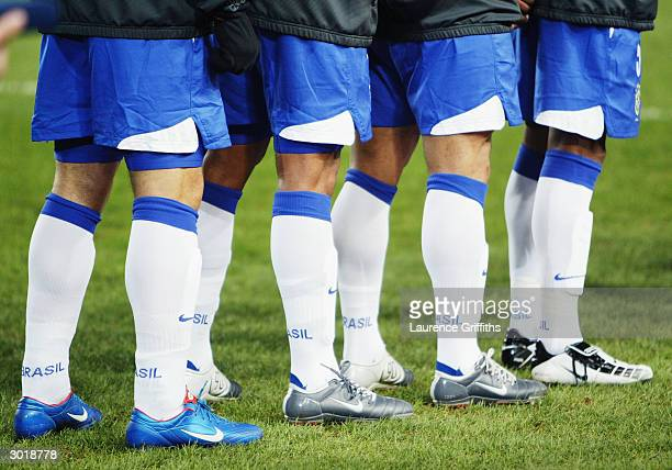 Nike boots on the Brazil players during the International Friendly match between Republic of Ireland and Brazil held on February 18 2004 at Lansdowne...
