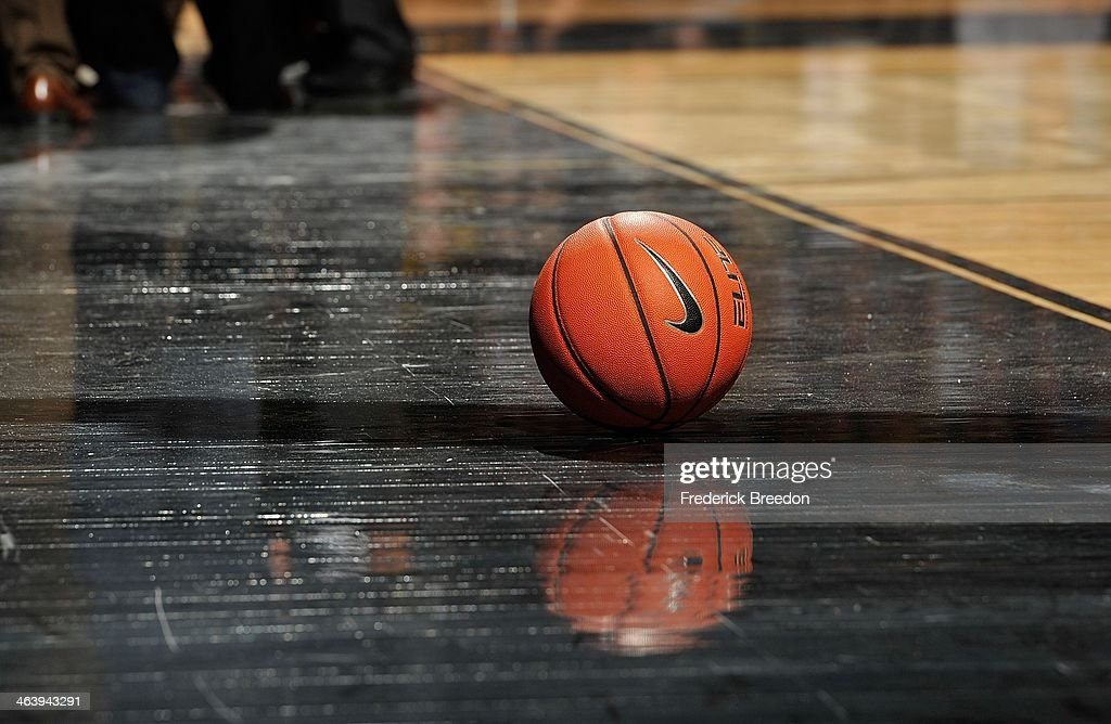 A Nike brand basketball rests on the court during a game between the Kentucky Wildcats and the Vanderbilt Commodores at Memorial Gym on January 11, 2014 in Nashville, Tennessee.