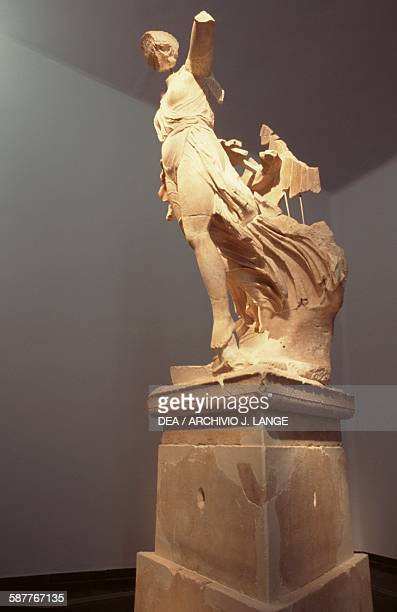 Nike ca 430420 BC statue by Paeonius of Mende from the Temple of Zeus in Olympia Greece Greek civilization 5th century BC Olympia Museum