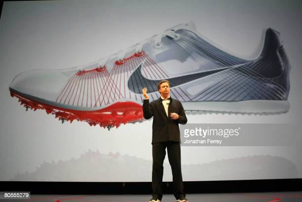 Nike CEO Mark Parker talks to a crowd during the unveiling of the Nike Hyperdunk shoe at the Nike Beijing 08 Innovation Summit on April 7 2008 at the...