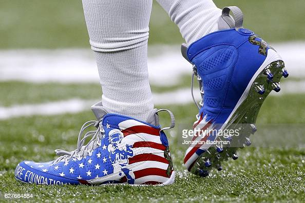 Nike cleats are seen worn by Golden Tate of the Detroit Lions before a game against the New Orleans Saints at the MercedesBenz Superdome on December...