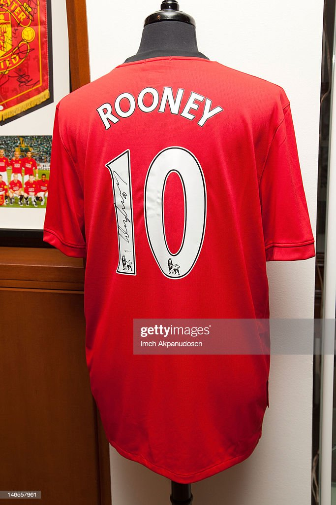 A Nike Fit Dry Manchester United F.C. replica soccer jearsey signed by soccer player Wayne Rooney on display during the Music Icons And Sports Legends Memorabilia Auction Press Call at Julien's Auctions Gallery on June 18, 2012 in Beverly Hills, California.
