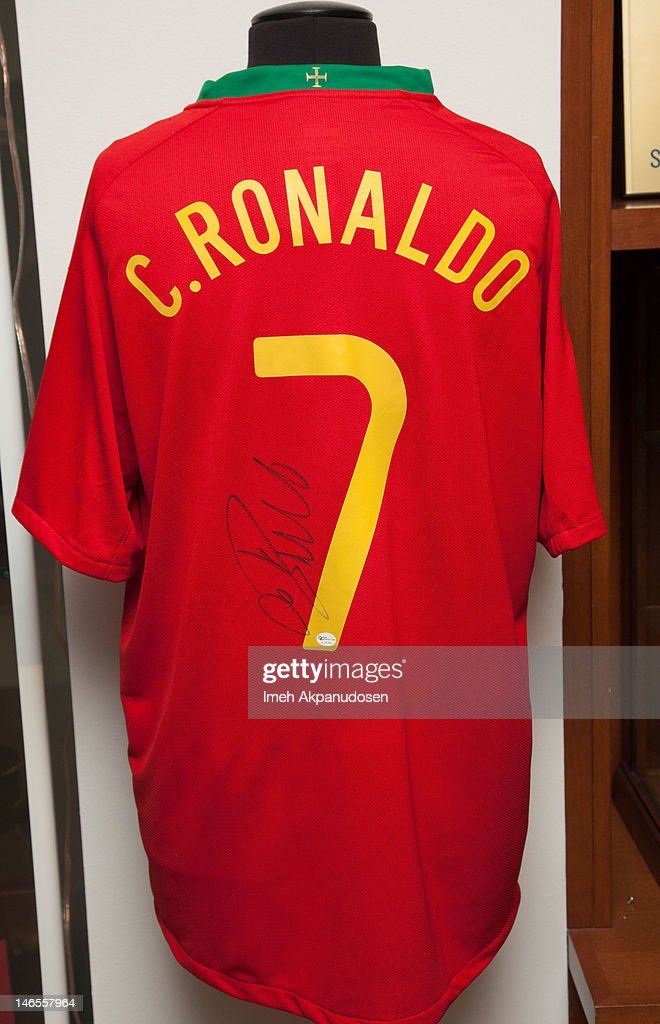 A Nike Fit Dry Portugal National Football Team replica soccer jersey signed by soccer player Cristiano Ronaldo on display during the Music Icons And Sports Legends Memorabilia Auction Press Call at Julien's Auctions Gallery on June 18, 2012 in Beverly Hills, California.