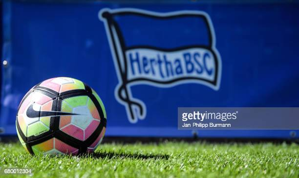 Nike football and flag of Hertha BSC during the game of the 3rd place during the Nike Premier Cup 2017 on may 7 2017 in Berlin Germany