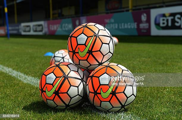 Nike footballs during the FA WSL 1 match between Birmingham City Ladies and Notts County Ladies FC at the Automated Technology Group Stadium on May...