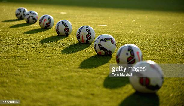 Nike footballs during the International Match between England U20 and Czech Republic U20 at Greenhous Meadow on September 7 2015 in Shrewsbury England