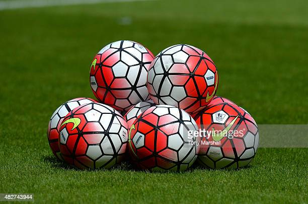 Nike footballs sit on the pitch during the Pre Season Friendly match between West Ham Utd and SV Werder Bremen at Boleyn Ground on August 2 2015 in...