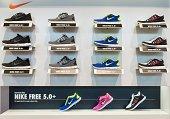 Nike Free running shoe display in a Nike store