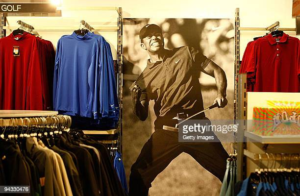 Nike Golf display featuring Tiger Woods and his victory at the 2008 US Open is shown at a Nike factory store on December 12 2009 in Orlando Florida...