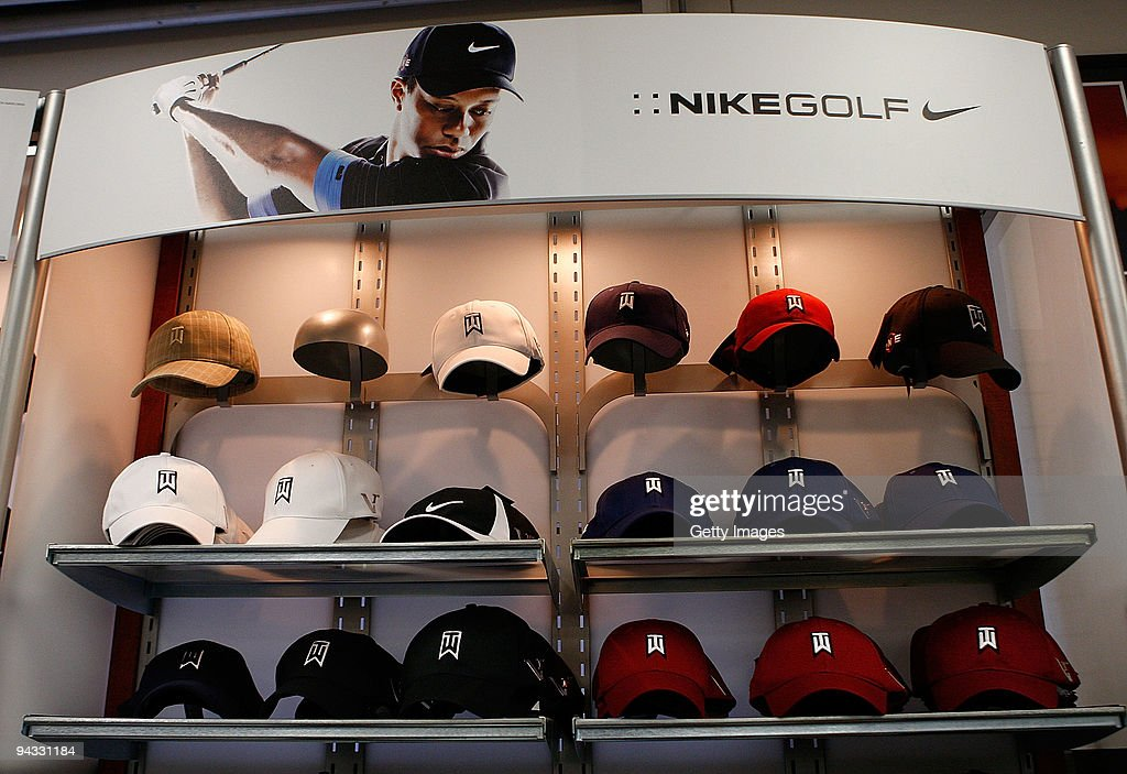 A Nike Golf display featuring <a gi-track='captionPersonalityLinkClicked' href=/galleries/search?phrase=Tiger+Woods&family=editorial&specificpeople=157537 ng-click='$event.stopPropagation()'>Tiger Woods</a> is shown at a golf shop on December 12, 2009 in Orlando, Florida. Woods announced that he will take an indefinite break from professional golf to concentrate on repairing family relations after admitting to infidelity in his marriage. Woods has a line of golf products offered by Nike Golf.