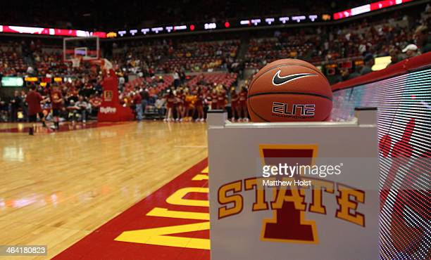 Nike logo is visible on a basketball before the matchup between the Iowa State Cyclones and the Baylor Bears on January 7 2014 at Hilton Coliseum in...