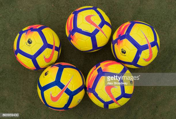 Nike Ordem V HiVis balls are seen during a Premier League Kicks session on October 24 2017 in London England The new Nike Ordem V HiVis football will...